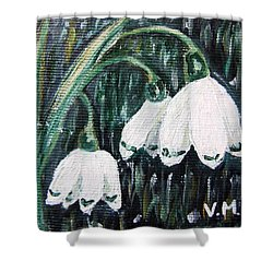 White Bells Shower Curtain by Vesna Martinjak