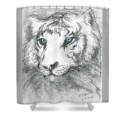 White Bengal Tiger Shower Curtain by Denise Fulmer