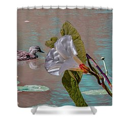 Shower Curtain featuring the photograph White Bindweed And Mandarin Duck Mix #g5 by Leif Sohlman