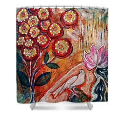 White Bird Shower Curtain by Mimulux patricia no No