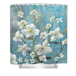 White Bloom Shower Curtain by Anthony Christou