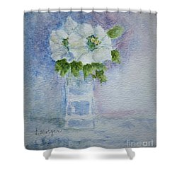 White Blooms In Blue Vase Shower Curtain