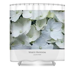 Shower Curtain featuring the digital art White Blossom by Julian Perry