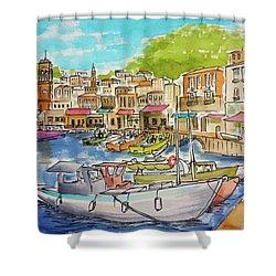 White Boat, Hydra Harbor Shower Curtain
