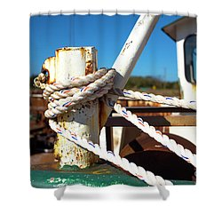 Shower Curtain featuring the photograph White Boat Rope by John Rizzuto