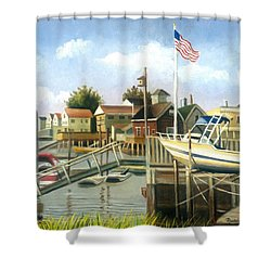 White Boat With Flags In Broad Channel Shower Curtain