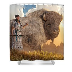 White Buffalo Calf Woman Shower Curtain