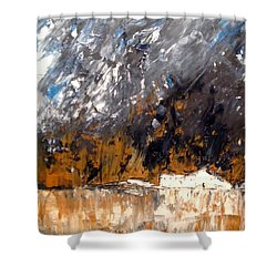 White Buildings No.3 Shower Curtain