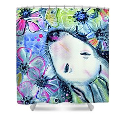 Shower Curtain featuring the painting White Bull Terrier And Butterfly by Zaira Dzhaubaeva