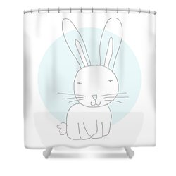 White Bunny On Blue- Art By Linda Woods Shower Curtain
