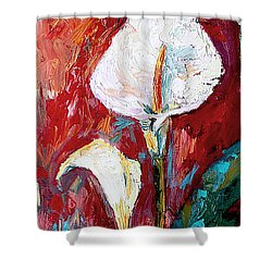 White Calla Lilies Oil Painting Shower Curtain by Ginette Callaway