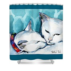 White Cat Affection Shower Curtain