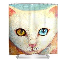 White Cat Shower Curtain by Shijun Munns