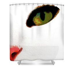 White Cats Face Shower Curtain