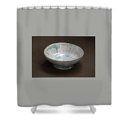 White Ceramic Bowl With Turquoise Blue Glaze Drips Shower Curtain by Suzanne Gaff