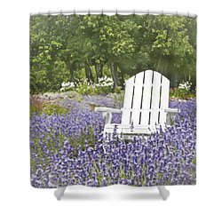 Shower Curtain featuring the photograph White Chair In A Field Of Lavender Flowers by Brooke T Ryan