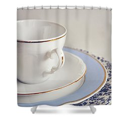 Shower Curtain featuring the photograph White China Cup, Saucer And Plates by Lyn Randle