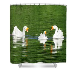White Chinese Geese Shower Curtain