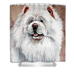 White Chow Chow Shower Curtain by Christopher Shellhammer
