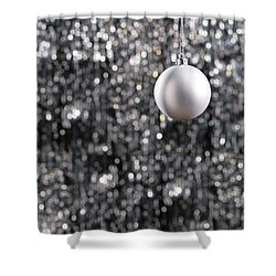 Shower Curtain featuring the photograph White Christmas Bauble  by Ulrich Schade