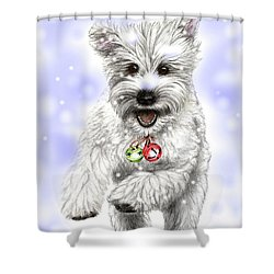 White Christmas Doggy Shower Curtain