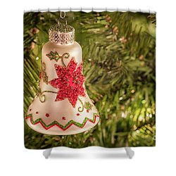 White Christmas Ornament Shower Curtain