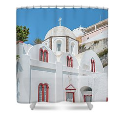 Shower Curtain featuring the photograph White Church At Fira by Antony McAulay