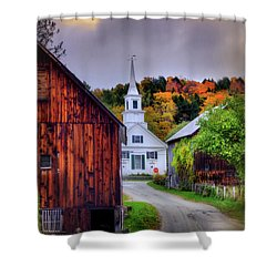 Shower Curtain featuring the photograph White Church In Autumn - Waits River Vermont by Joann Vitali