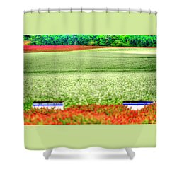 Shower Curtain featuring the photograph White Clover Bee Boxes by Jerry Sodorff