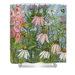 Shower Curtain featuring the painting White Coneflowers In Garden by Laurie Rohner