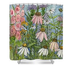 White Coneflowers In Garden Shower Curtain