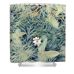 White Cosmo Shower Curtain