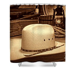 White Cowboy Hat In A Barn Shower Curtain by American West Legend By Olivier Le Queinec