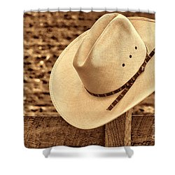 White Cowboy Hat On Fence Shower Curtain by American West Legend By Olivier Le Queinec