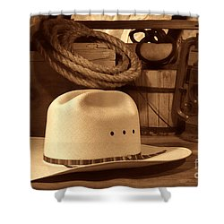 White Cowboy Hat On Workbench Shower Curtain