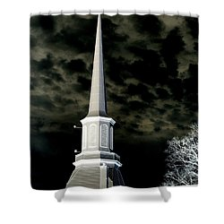 White Cross Dark Skies Shower Curtain
