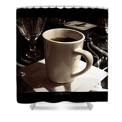 White Cup Shower Curtain