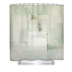 White Shower Curtain by Daniel Cacouault