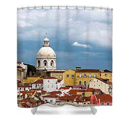 White Dome Against Blue Sky Shower Curtain by Lorraine Devon Wilke