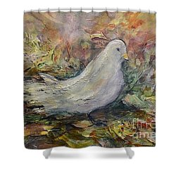 White Dove Shower Curtain by Ellen Anthony