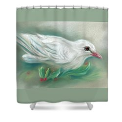 White Dove With Christmas Holly Shower Curtain