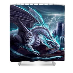 White Dragon Shower Curtain by Anthony Christou