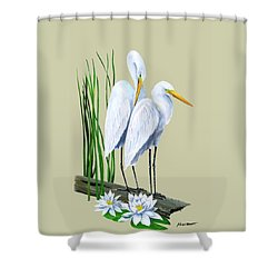 White Egrets And White Lillies Shower Curtain by Kevin Brant