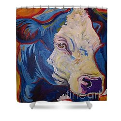 Shower Curtain featuring the painting White Face Cow by Jenn Cunningham