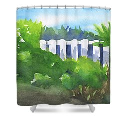 White Fence  Shower Curtain by Frank Bright