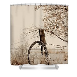 White Fence Shower Curtain by Shirley Heier