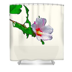 White Flower And Leaves Shower Curtain