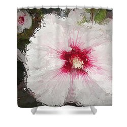 Shower Curtain featuring the painting White Flower by Joan Reese
