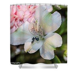 White Flower Shower Curtain by Nance Larson