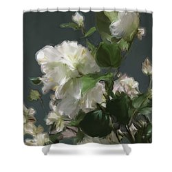White Flowers 103 Shower Curtain